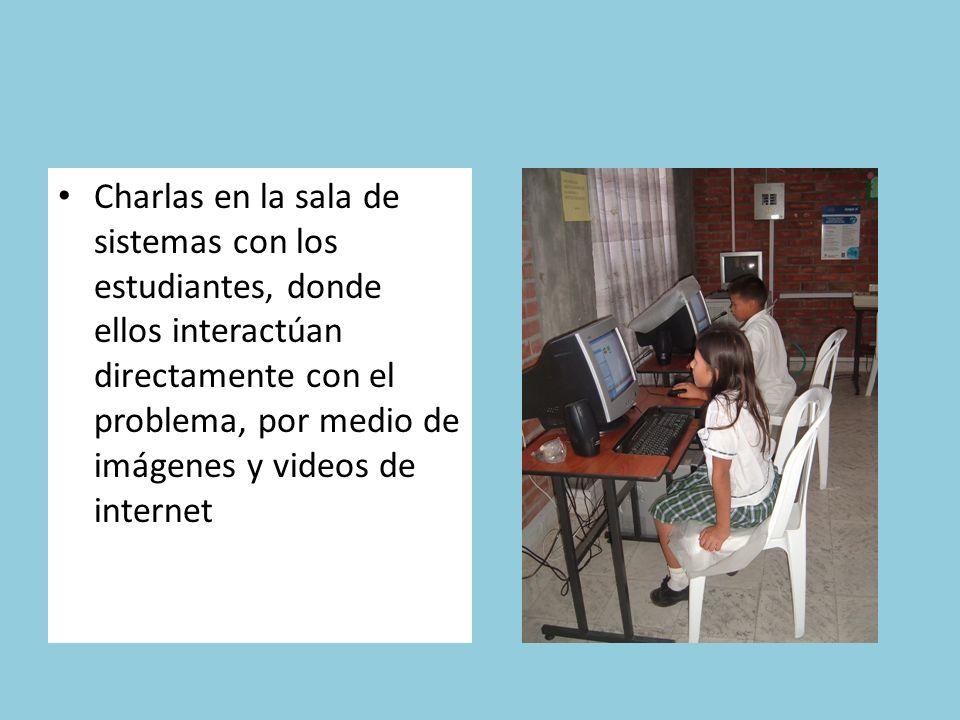 Charlas en la sala de sistemas con los estudiantes, donde ellos interactúan directamente con el problema, por medio de imágenes y videos de internet