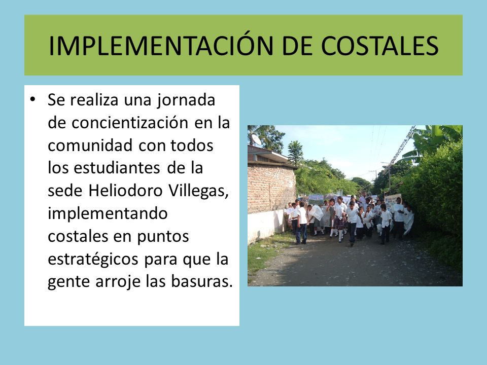IMPLEMENTACIÓN DE COSTALES
