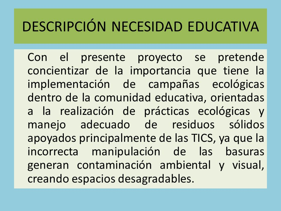 DESCRIPCIÓN NECESIDAD EDUCATIVA