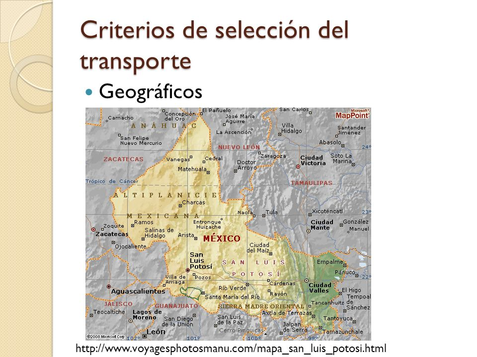 Criterios de selección del transporte