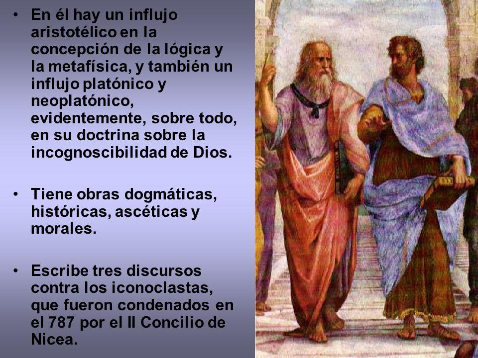 En él hay un influjo aristotélico en la concepción de la lógica y la metafísica, y también un influjo platónico y neoplatónico, evidentemente, sobre todo, en su doctrina sobre la incognoscibilidad de Dios.
