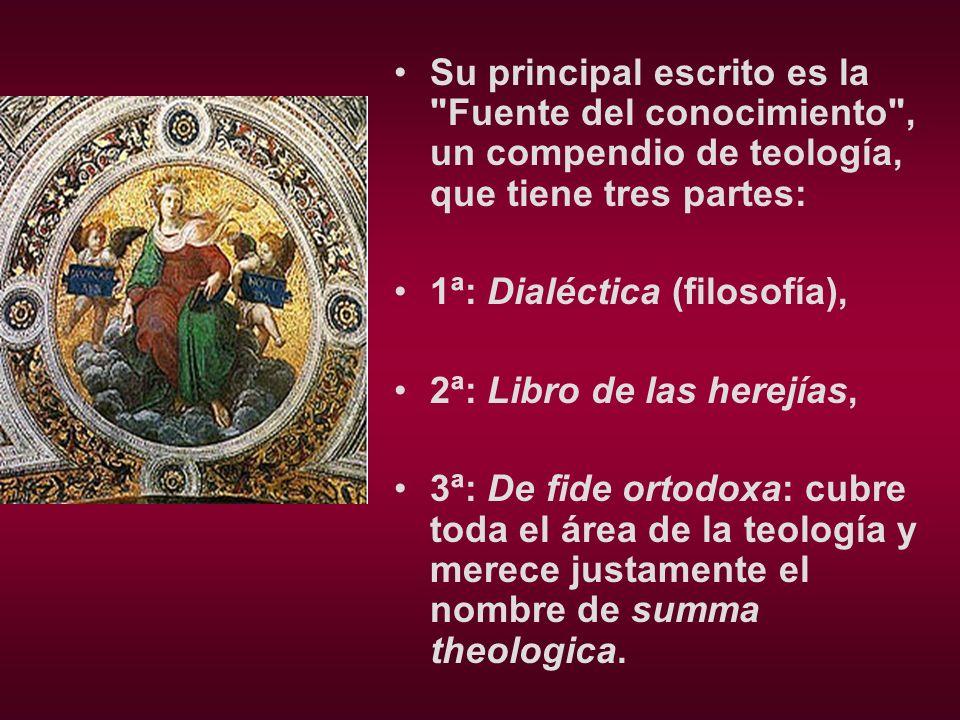 Su principal escrito es la Fuente del conocimiento , un compendio de teología, que tiene tres partes: