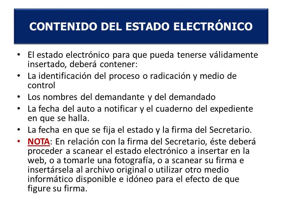 CONTENIDO DEL ESTADO ELECTRÓNICO