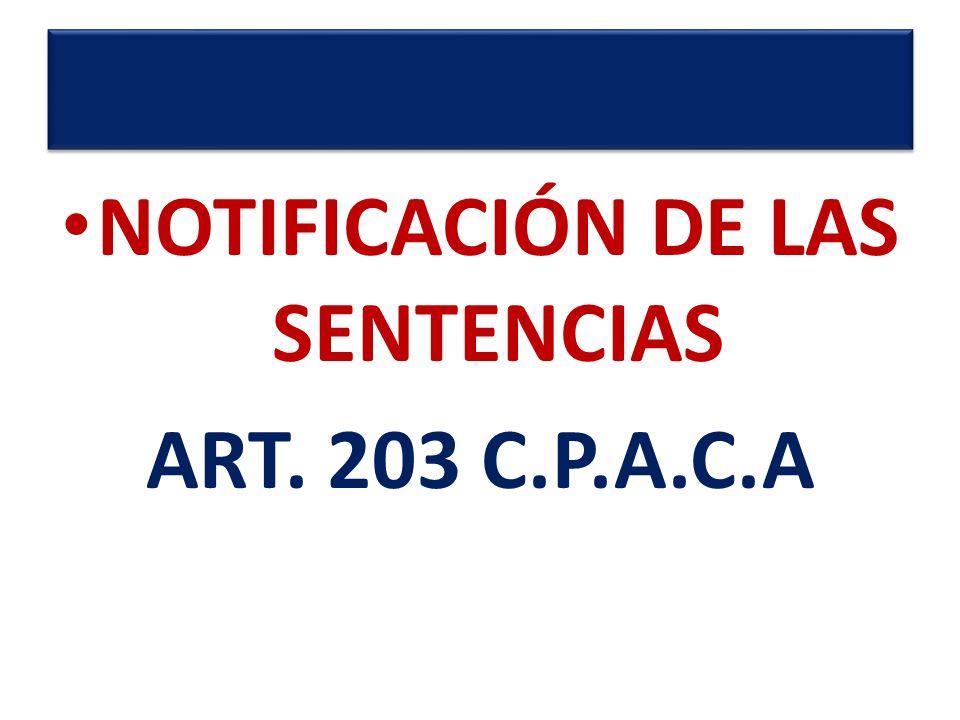 NOTIFICACIÓN DE LAS SENTENCIAS