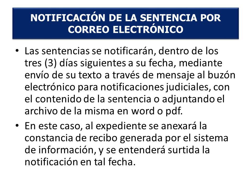 NOTIFICACIÓN DE LA SENTENCIA POR CORREO ELECTRÓNICO