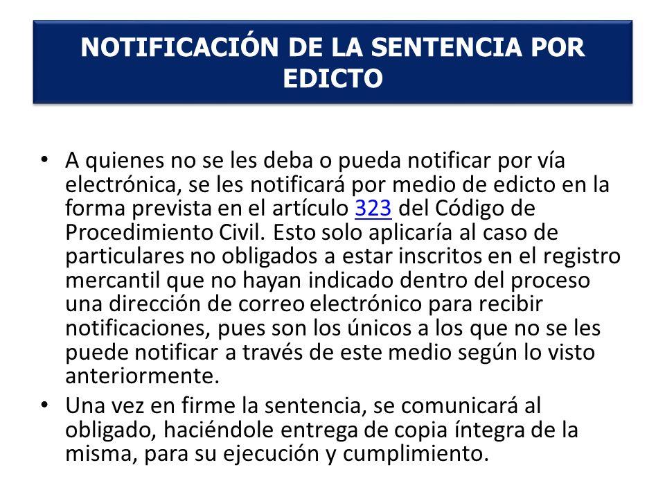 NOTIFICACIÓN DE LA SENTENCIA POR EDICTO
