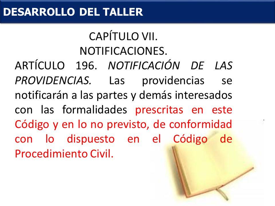 CAPÍTULO VII. . NOTIFICACIONES.