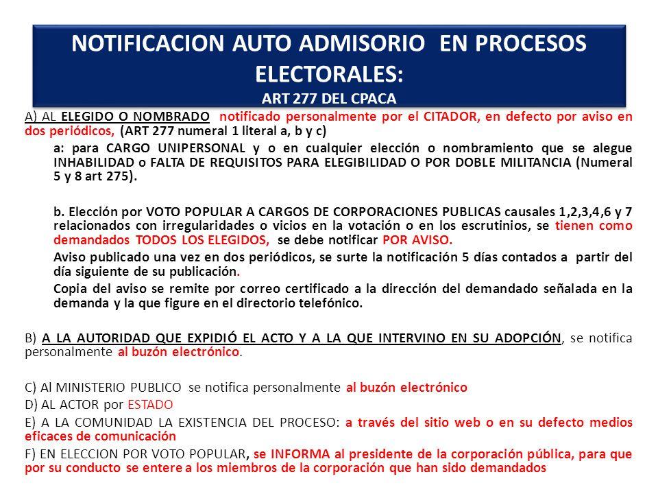 NOTIFICACION AUTO ADMISORIO EN PROCESOS ELECTORALES: ART 277 DEL CPACA
