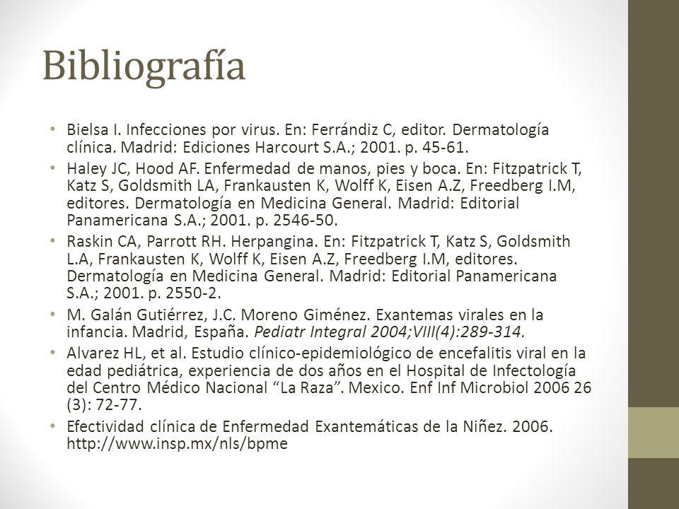 BibliografíaBielsa I. Infecciones por virus. En: Ferrándiz C, editor. Dermatología clínica. Madrid: Ediciones Harcourt S.A.; 2001. p. 45-61.