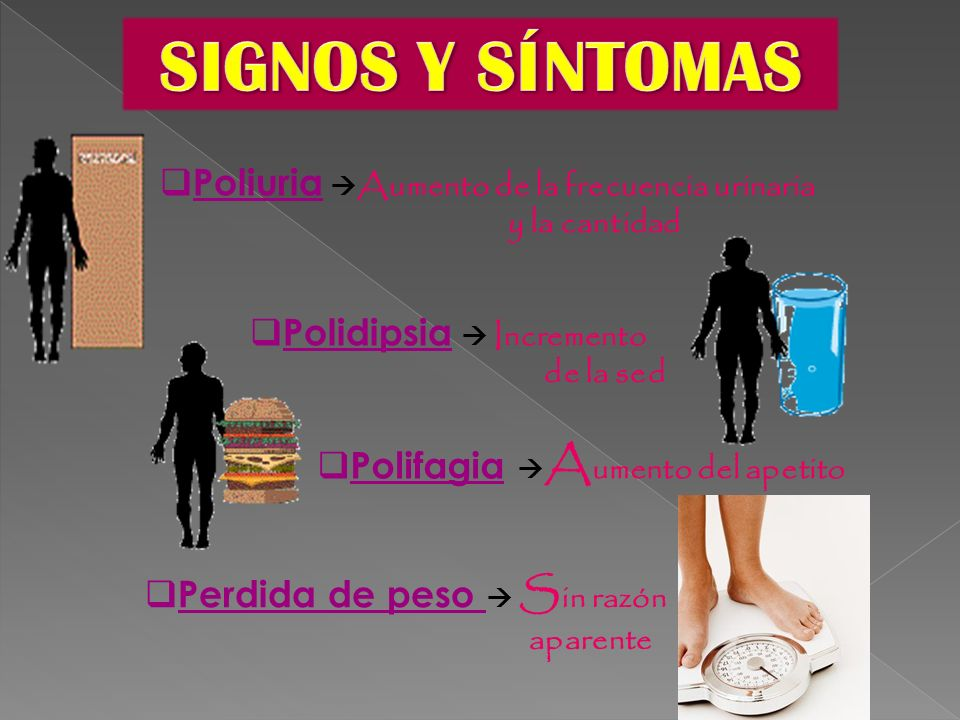 SIGNOS Y SÍNTOMAS Poliuria Aumento de la frecuencia urinaria