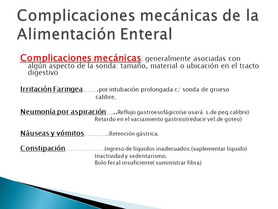Complicaciones mecánicas de la Alimentación Enteral