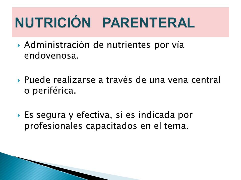 NUTRICIÓN PARENTERAL Administración de nutrientes por vía endovenosa.