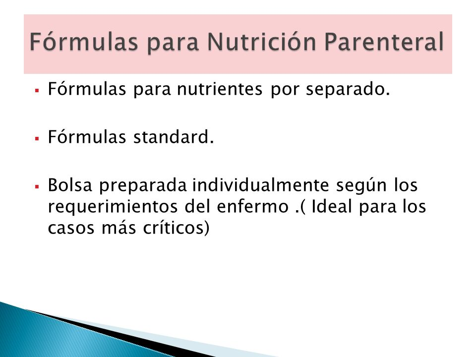 Fórmulas para Nutrición Parenteral