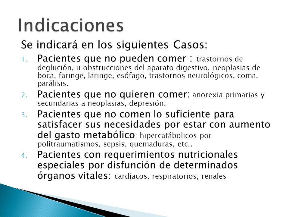 Indicaciones Se indicará en los siguientes Casos: