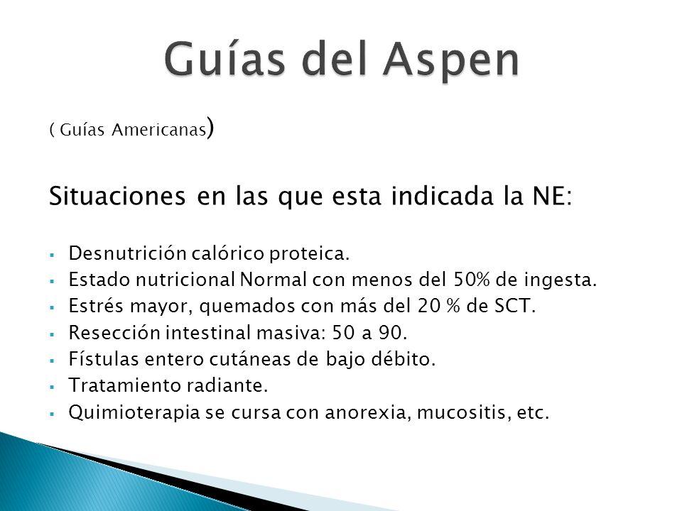Guías del Aspen Situaciones en las que esta indicada la NE: