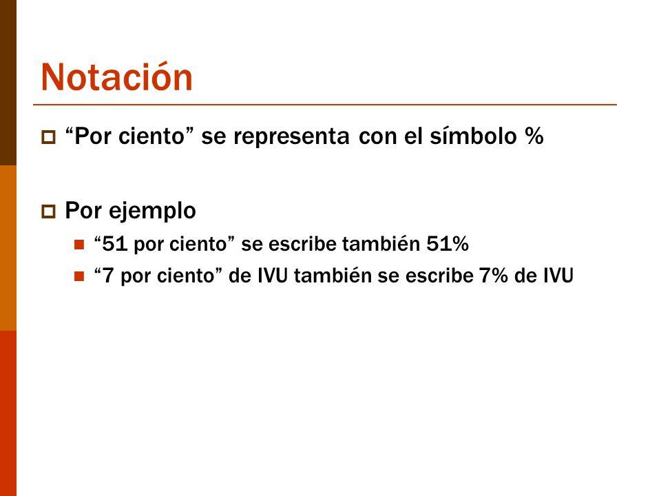 Notación Por ciento se representa con el símbolo % Por ejemplo