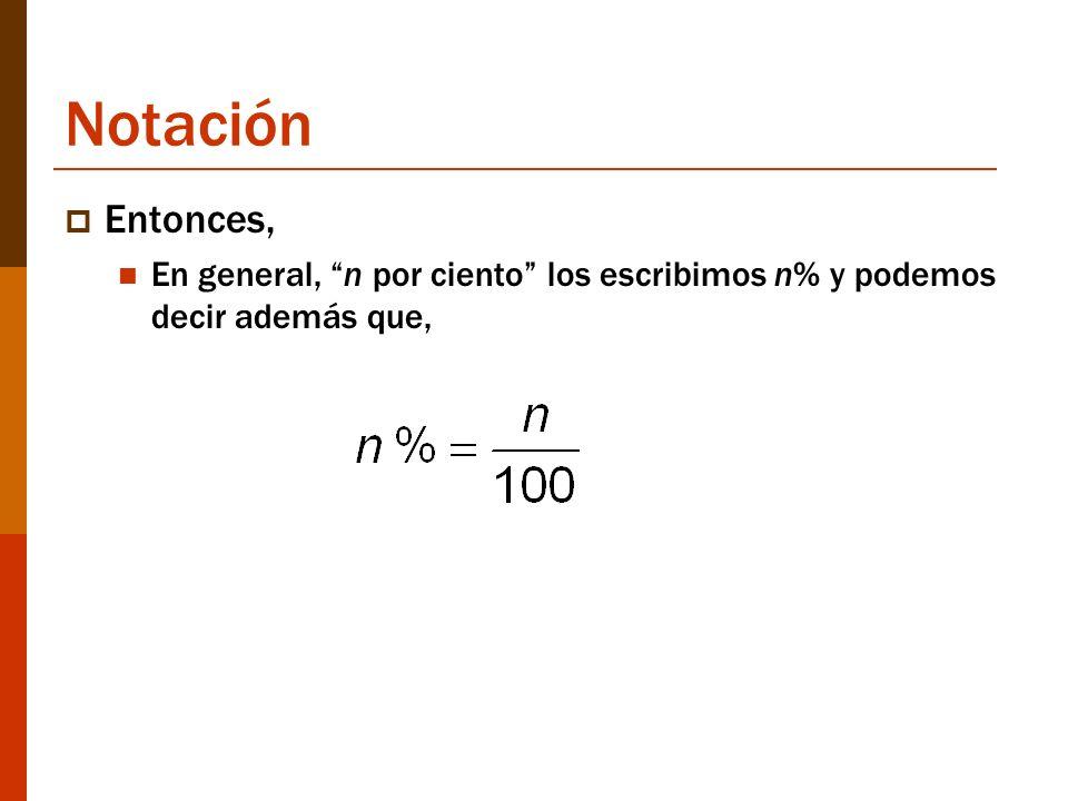 Notación Entonces, En general, n por ciento los escribimos n% y podemos decir además que,