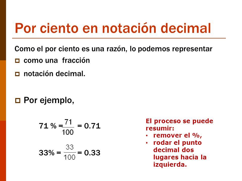 Por ciento en notación decimal
