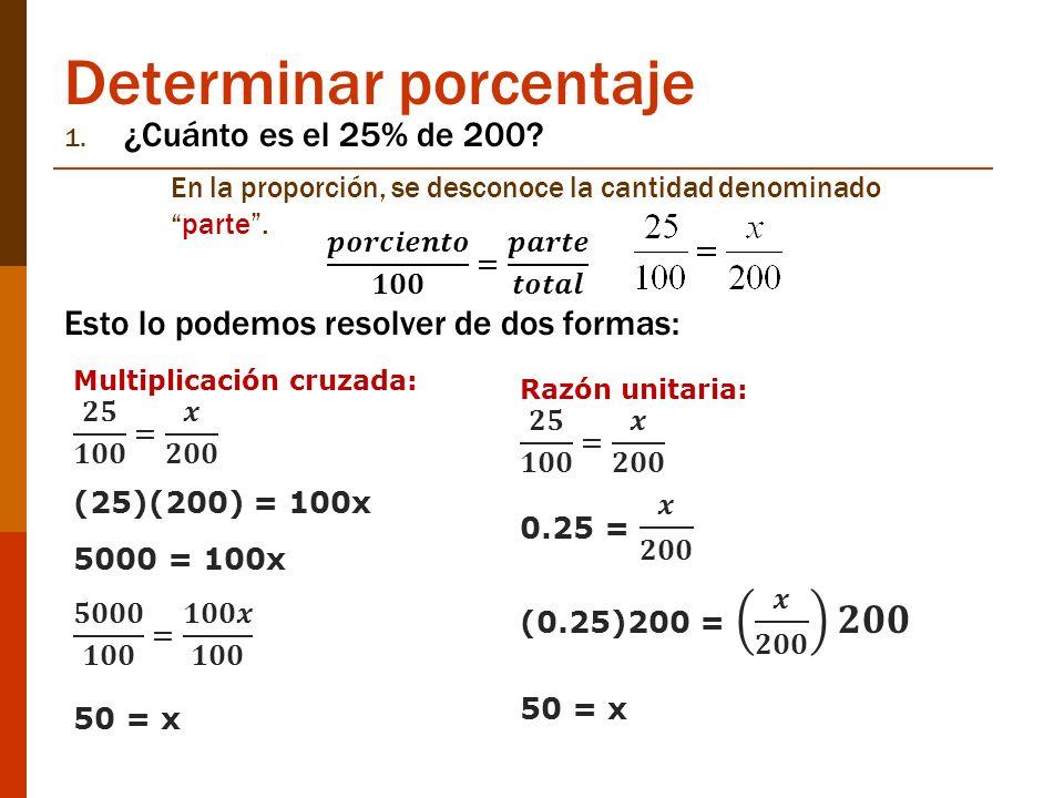 Determinar porcentaje