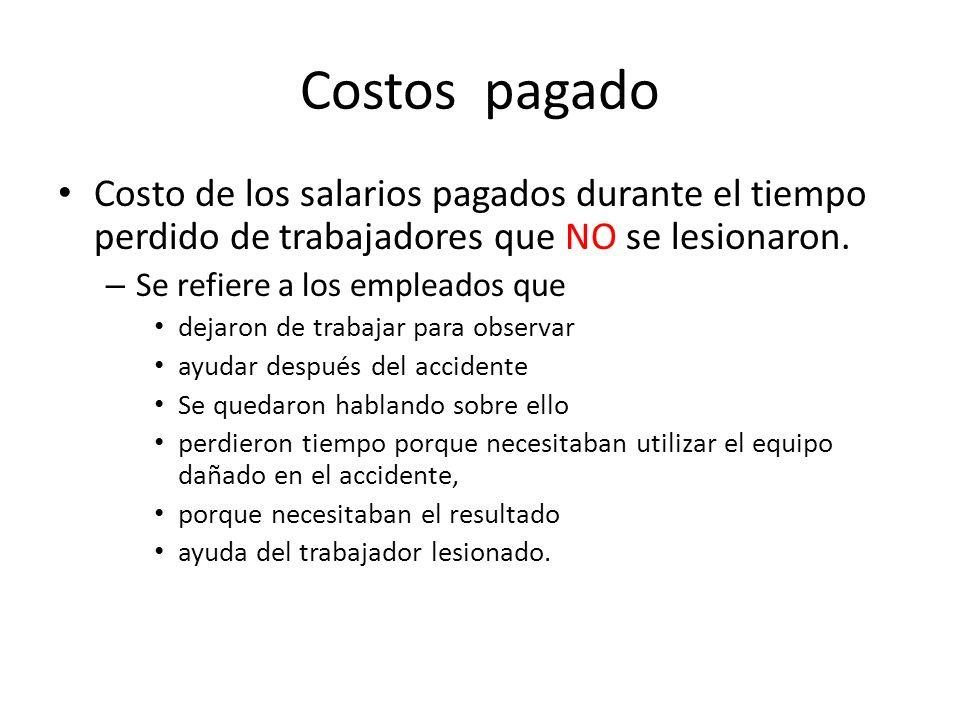 Costos pagado Costo de los salarios pagados durante el tiempo perdido de trabajadores que NO se lesionaron.