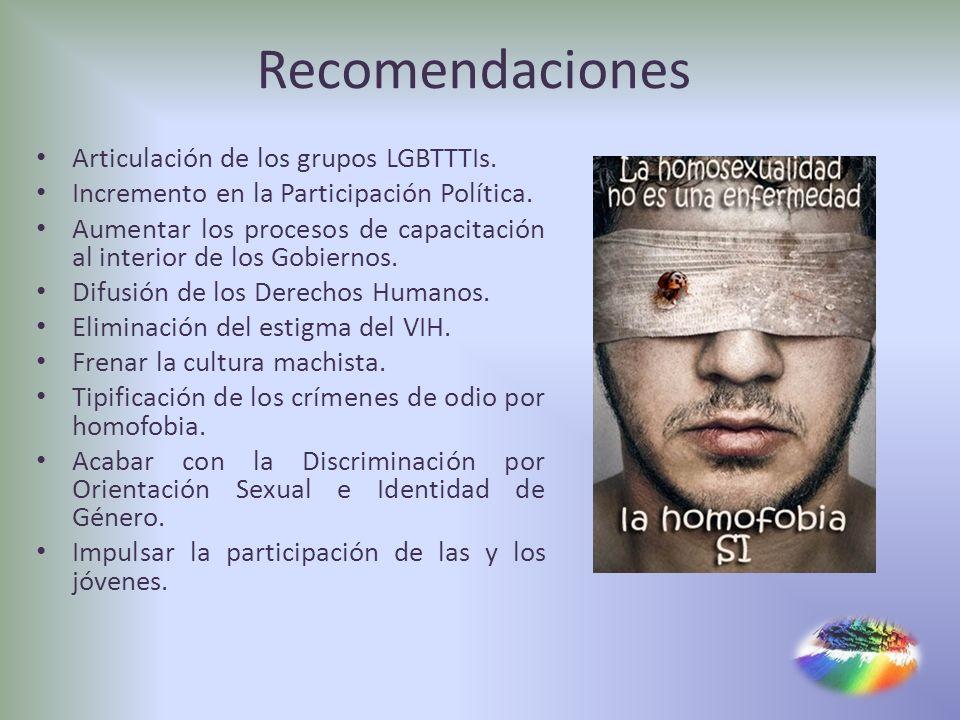 Recomendaciones Articulación de los grupos LGBTTTIs.