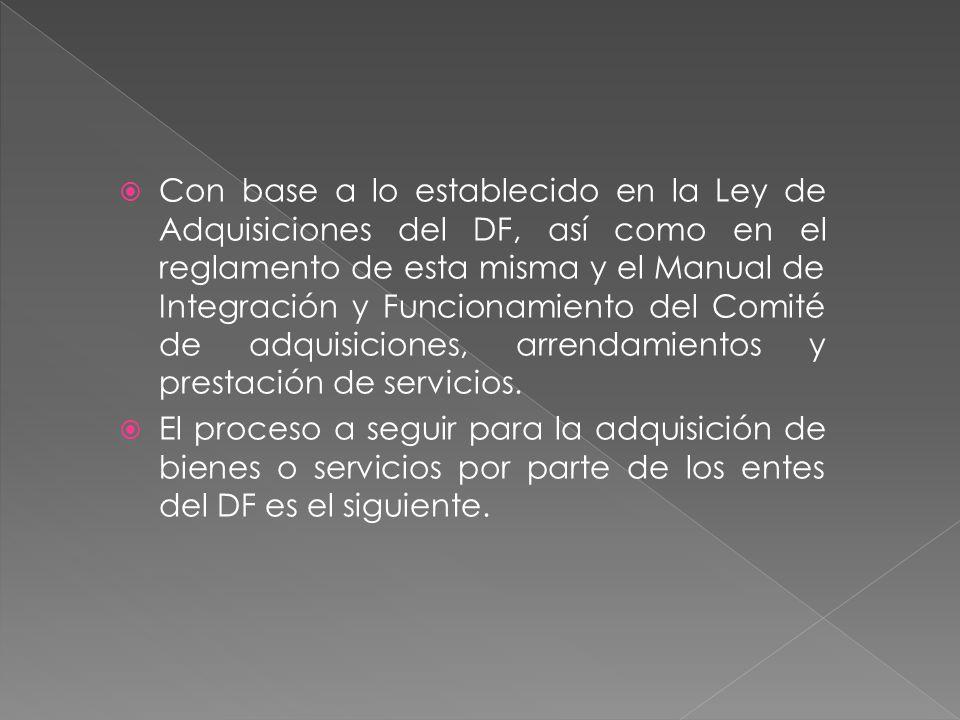 Con base a lo establecido en la Ley de Adquisiciones del DF, así como en el reglamento de esta misma y el Manual de Integración y Funcionamiento del Comité de adquisiciones, arrendamientos y prestación de servicios.