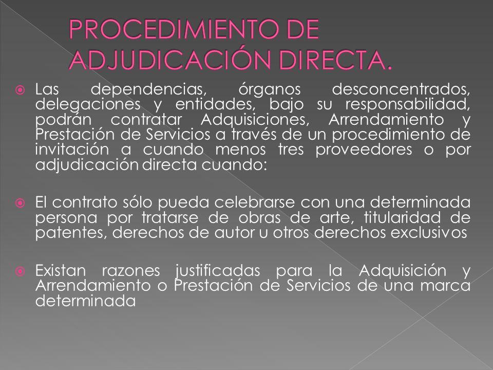 PROCEDIMIENTO DE ADJUDICACIÓN DIRECTA.