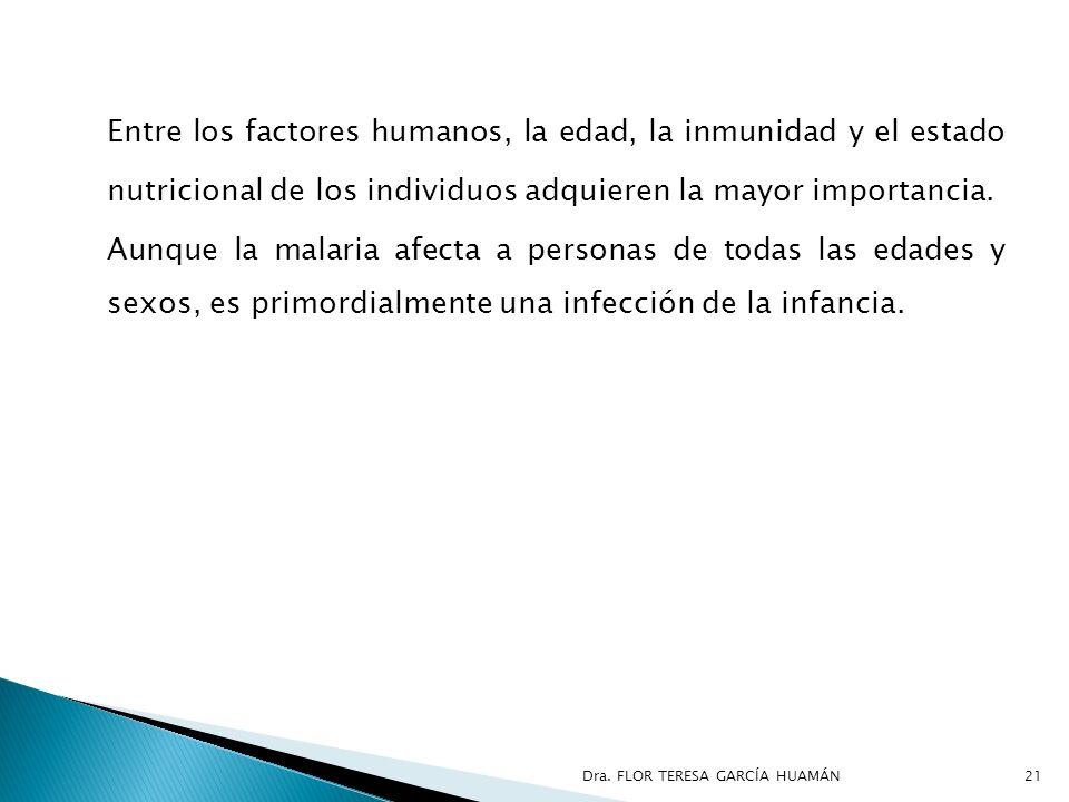 Entre los factores humanos, la edad, la inmunidad y el estado nutricional de los individuos adquieren la mayor importancia.