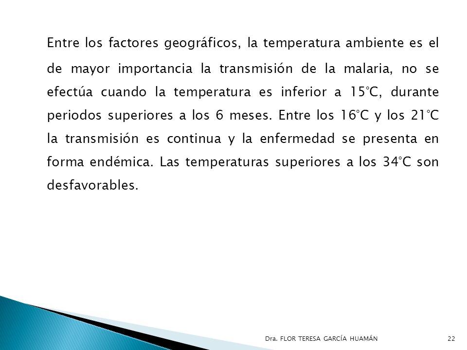 Entre los factores geográficos, la temperatura ambiente es el de mayor importancia la transmisión de la malaria, no se efectúa cuando la temperatura es inferior a 15°C, durante periodos superiores a los 6 meses. Entre los 16°C y los 21°C la transmisión es continua y la enfermedad se presenta en forma endémica. Las temperaturas superiores a los 34°C son desfavorables.