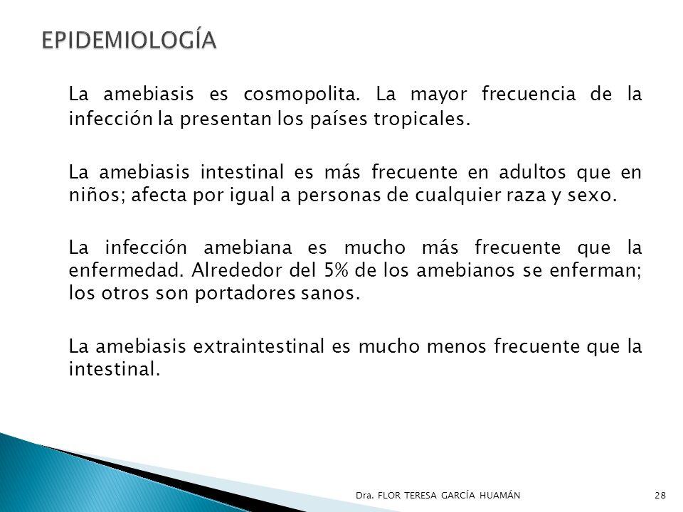 EPIDEMIOLOGÍA La amebiasis es cosmopolita. La mayor frecuencia de la infección la presentan los países tropicales.