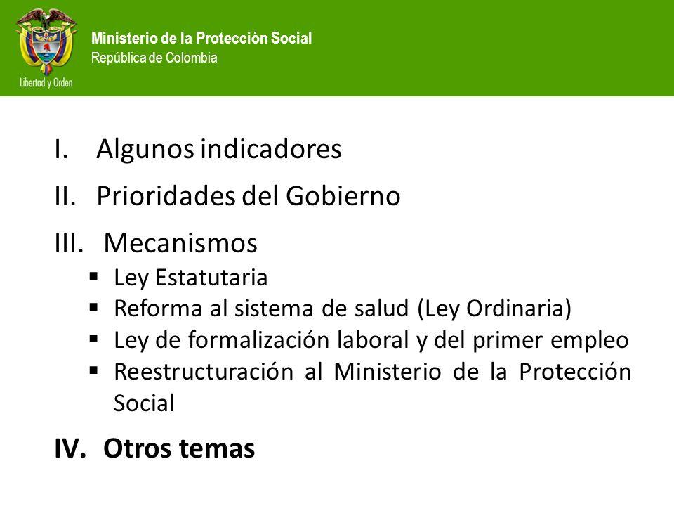 Prioridades del Gobierno Mecanismos