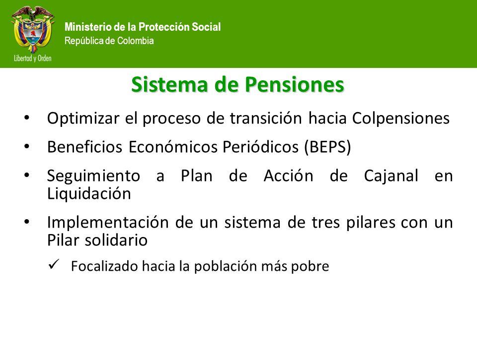 Sistema de Pensiones Optimizar el proceso de transición hacia Colpensiones. Beneficios Económicos Periódicos (BEPS)