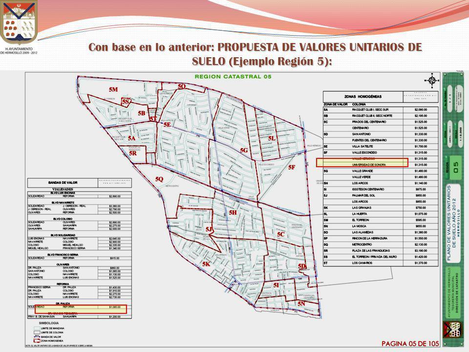 Con base en lo anterior: PROPUESTA DE VALORES UNITARIOS DE SUELO (Ejemplo Región 5):