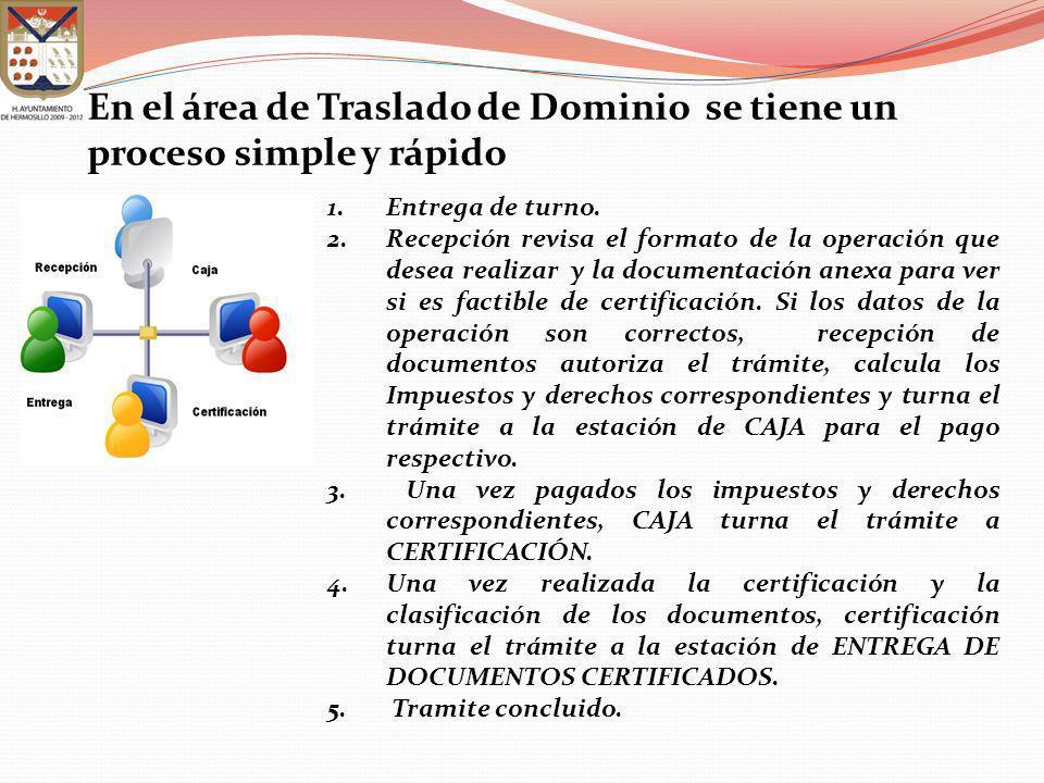 En el área de Traslado de Dominio se tiene un proceso simple y rápido