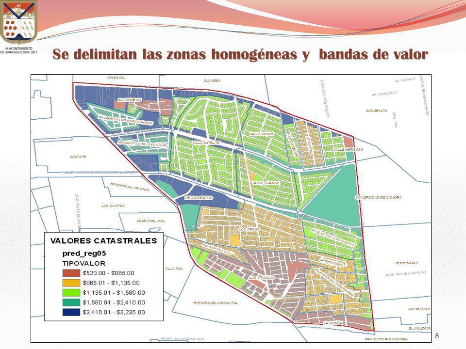 Se delimitan las zonas homogéneas y bandas de valor