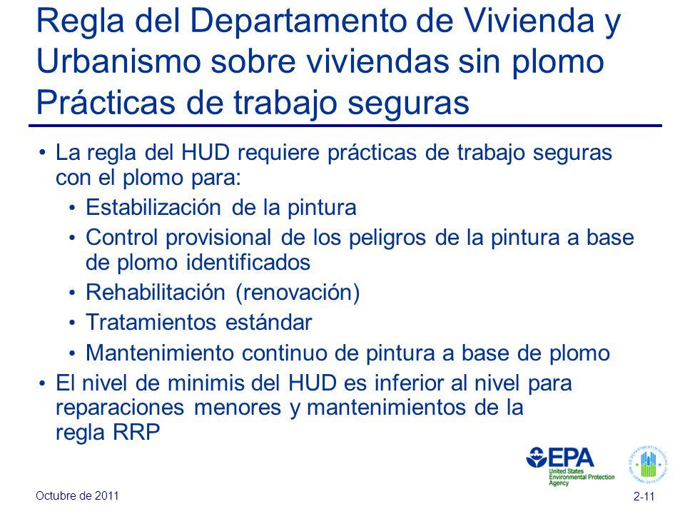 Regla del Departamento de Vivienda y Urbanismo sobre viviendas sin plomo Prácticas de trabajo seguras