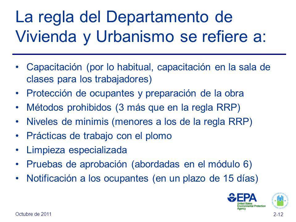 La regla del Departamento de Vivienda y Urbanismo se refiere a: