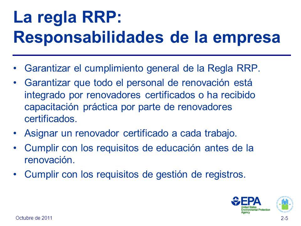 La regla RRP: Responsabilidades de la empresa