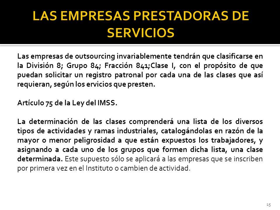 LAS EMPRESAS PRESTADORAS DE SERVICIOS