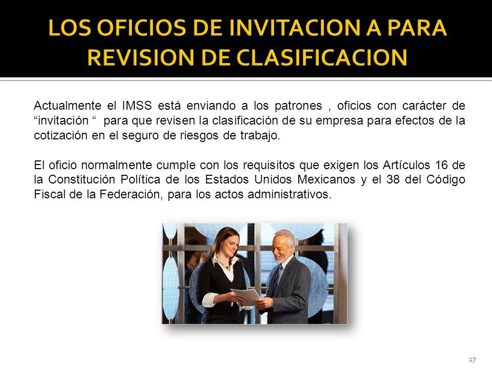 LOS OFICIOS DE INVITACION A PARA REVISION DE CLASIFICACION