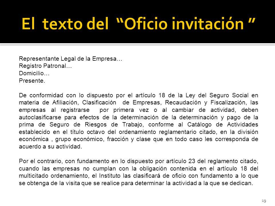 El texto del Oficio invitación