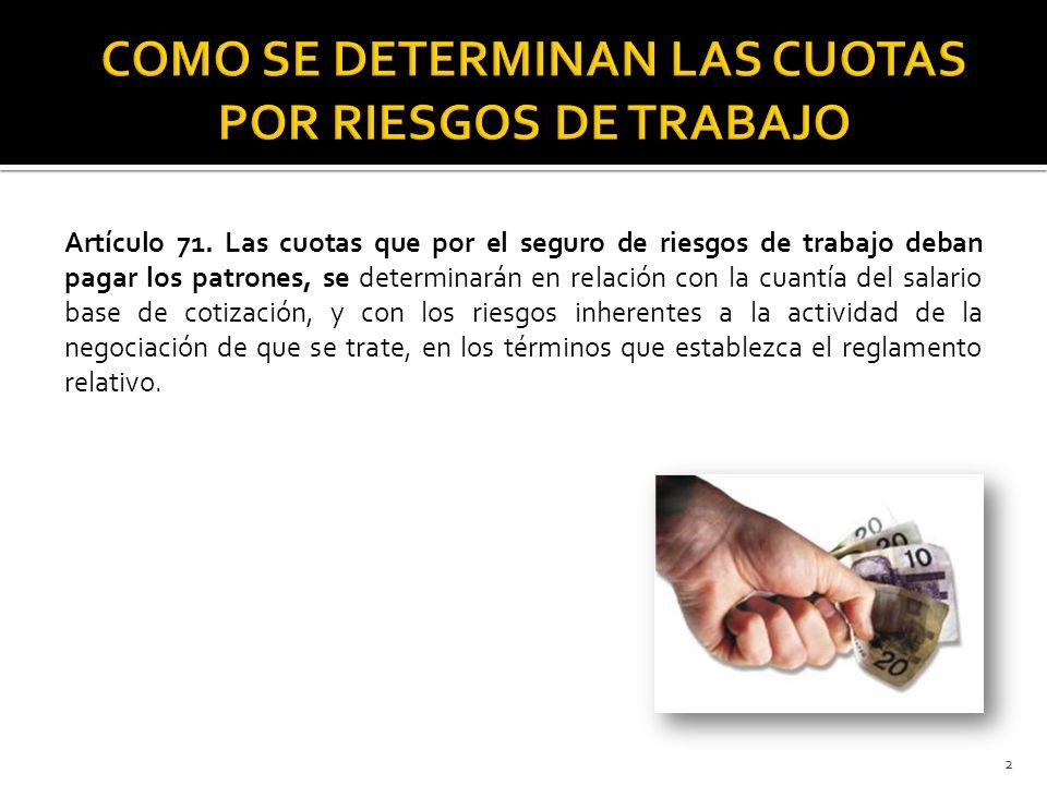 COMO SE DETERMINAN LAS CUOTAS POR RIESGOS DE TRABAJO