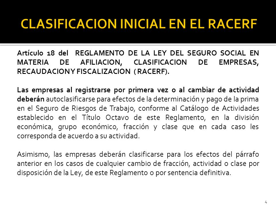 CLASIFICACION INICIAL EN EL RACERF