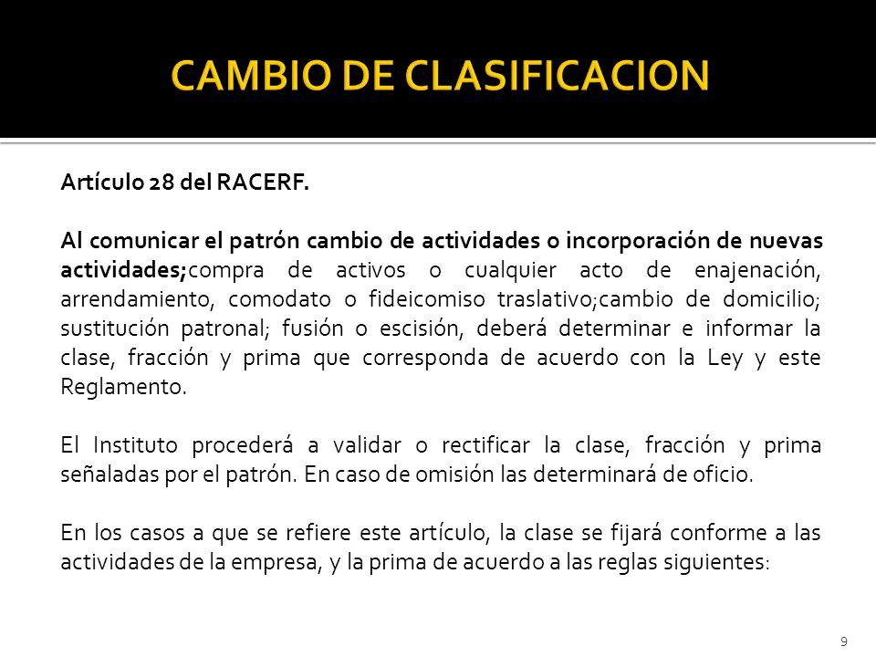 CAMBIO DE CLASIFICACION