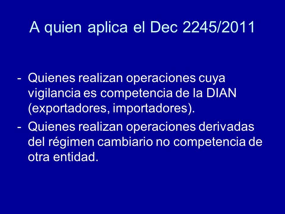 A quien aplica el Dec 2245/2011 Quienes realizan operaciones cuya vigilancia es competencia de la DIAN (exportadores, importadores).