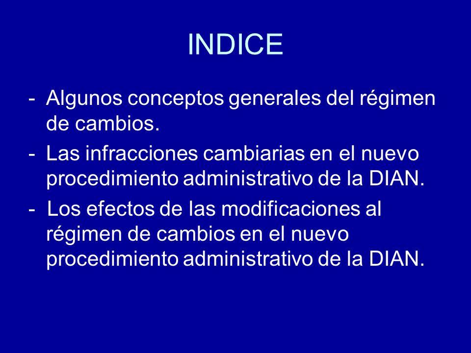INDICE Algunos conceptos generales del régimen de cambios.