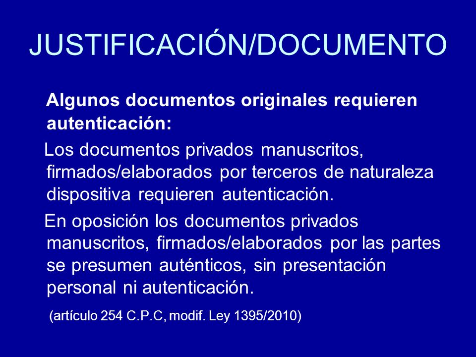 JUSTIFICACIÓN/DOCUMENTO