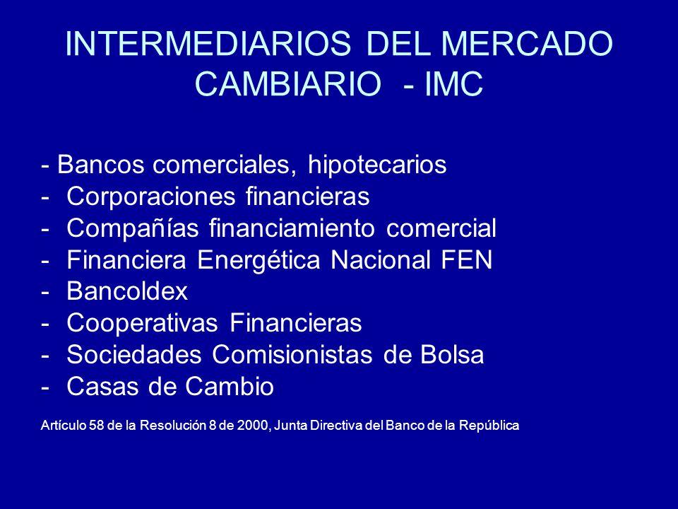 INTERMEDIARIOS DEL MERCADO CAMBIARIO - IMC