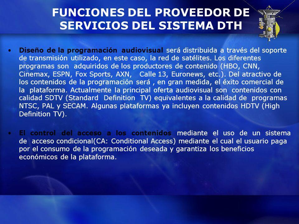 FUNCIONES DEL PROVEEDOR DE SERVICIOS DEL SISTEMA DTH