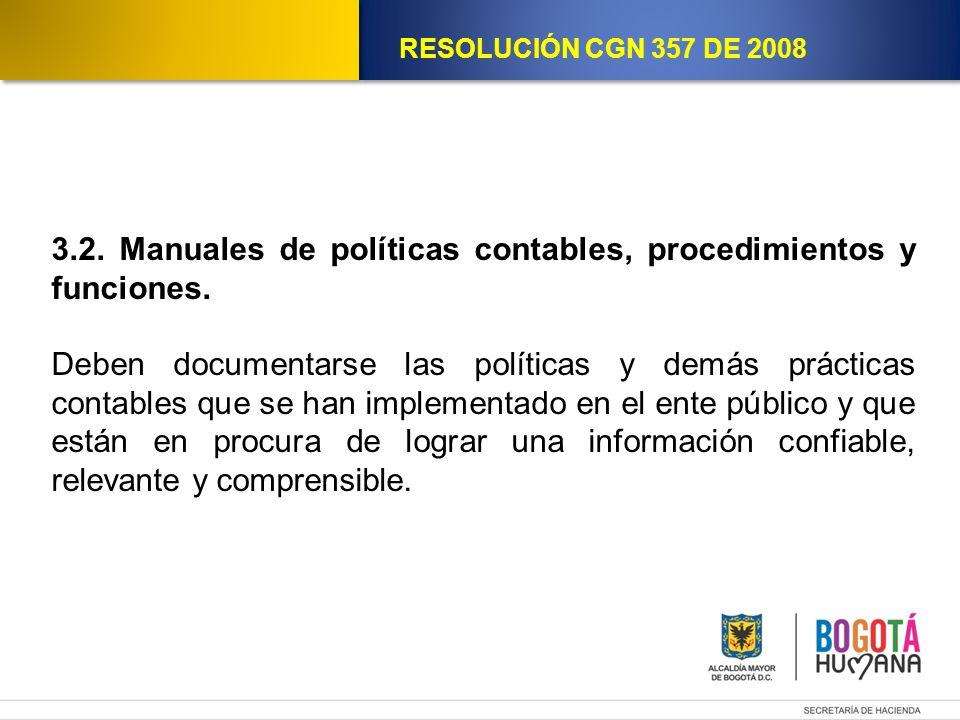 3.2. Manuales de políticas contables, procedimientos y funciones.